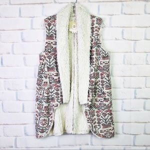 Anthropologie Jacquard Sherpa Vest by Hei Hei